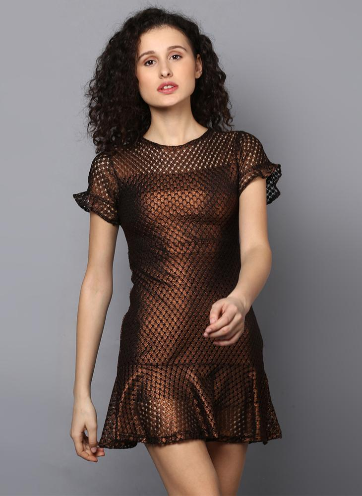 Bronze Mesh Dress with Frill Detail