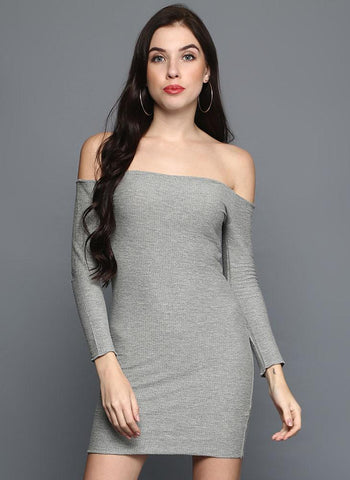 Grey bardot bodycon dress