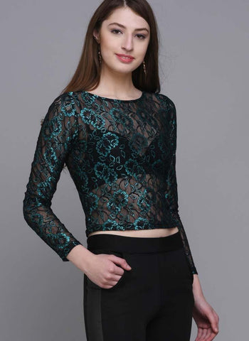 Metallic Green Cropped Lace Top