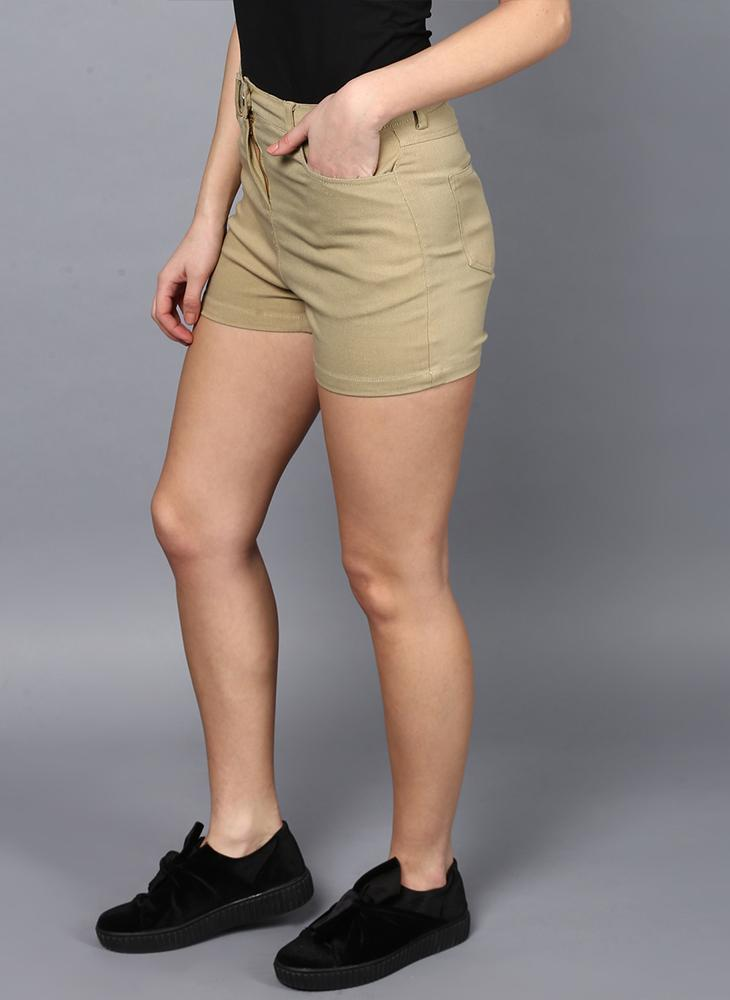 Drill Mid- Rise Shorts in Khaki