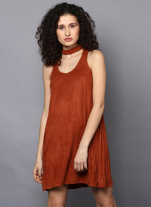 Brown Suede A-line Dress with Choker Neckline