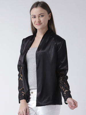 Black Satin Jacket with Lace & Lapel detail