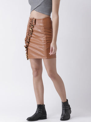 Frill Front Tan Faux Leather Skirt