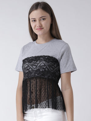 GREY BASIC TOP WITH LACE INSERT