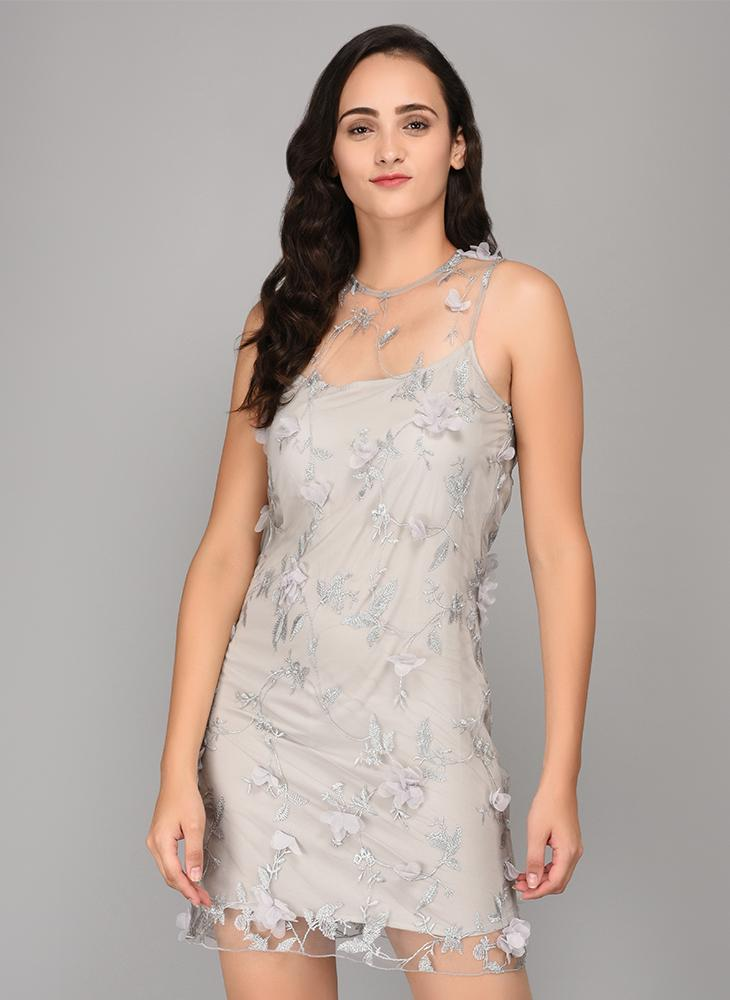 Grey Shift Floral Embellished Dress