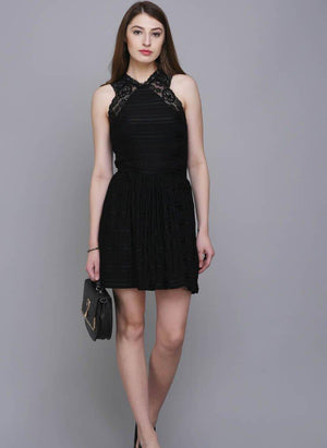 Black Fit & Flare Dress with Lace Detail