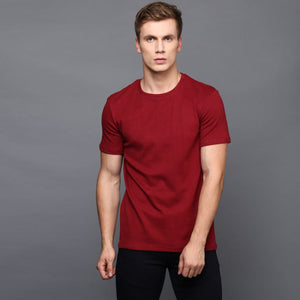 Blood Red Basic Crew Neck T-Shirt
