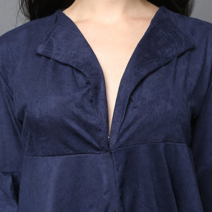 Navy-Blue Suede Fit & Flare Open-front Top