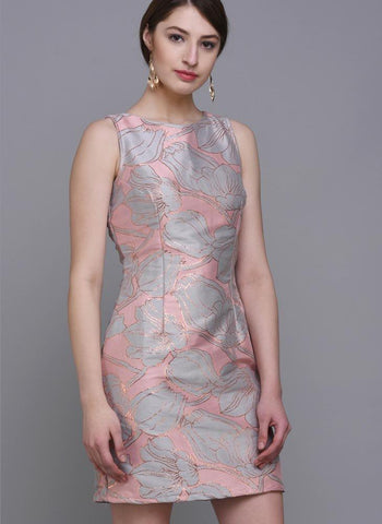 Pastel Brocade Dress with Floral Motif
