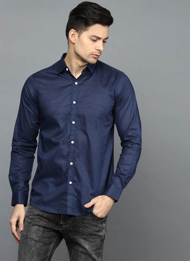 Navy Button Down Regular Fit Shirt