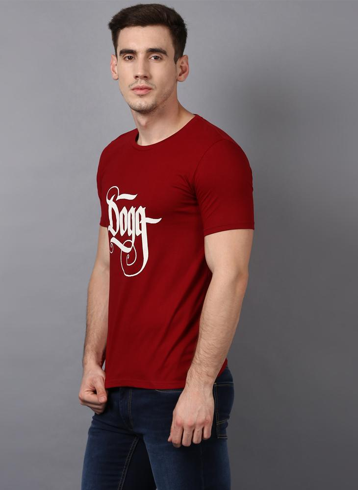 'DOGG' Printed Basic Red T-shirt