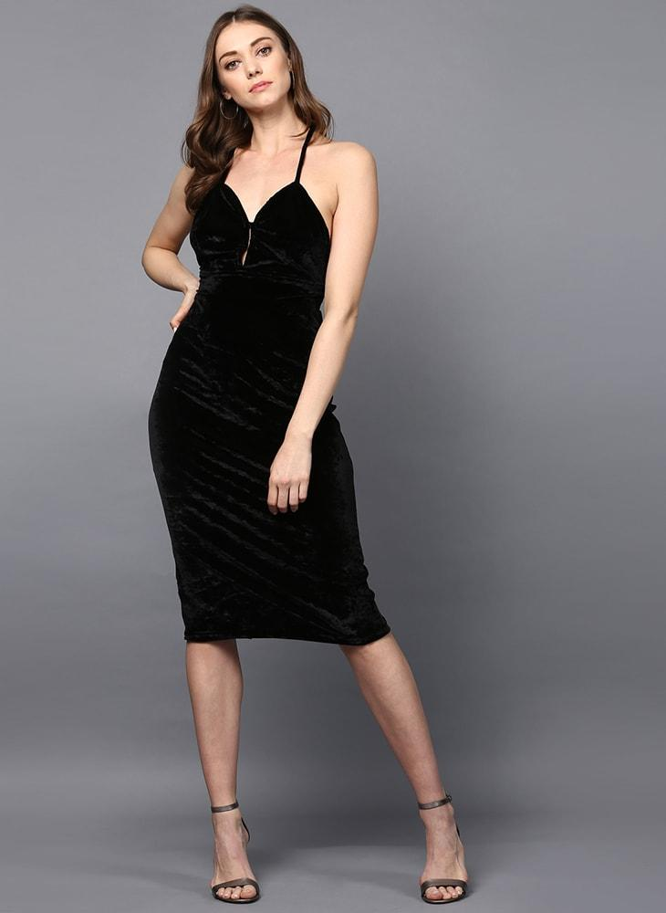 Black Velvet Cross- Back Midi Dress