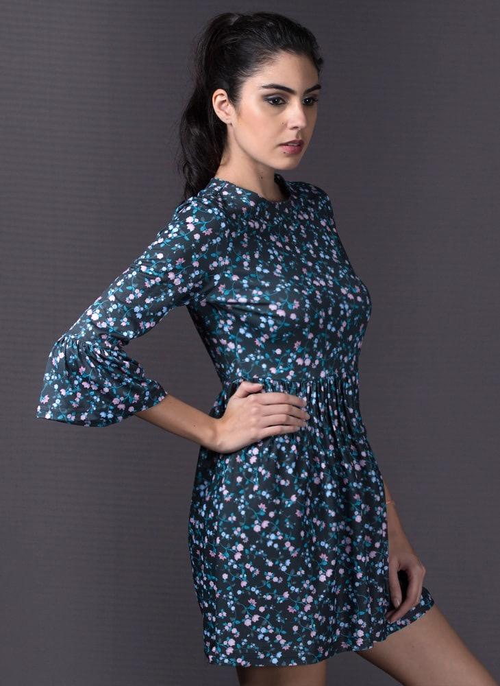 Floral Printed Dress with Gathered Waistline