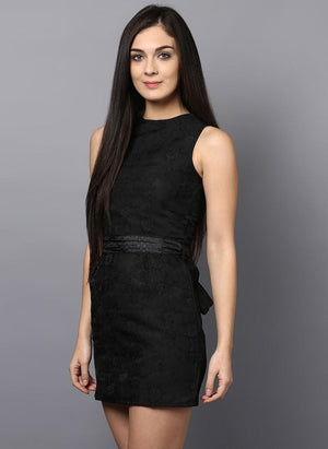 Black Brocade Dress with Waist belt
