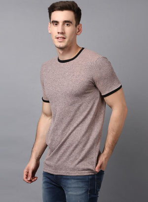 Melange Taupe Crew Neck T-shirt with contrast rib