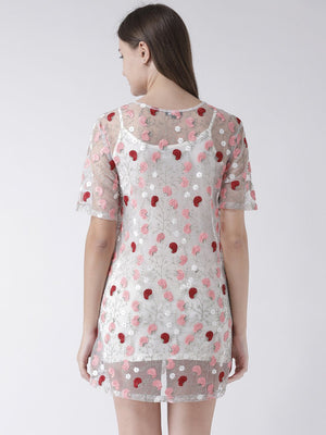 Sheer Shift Dress with Floral Embroidery