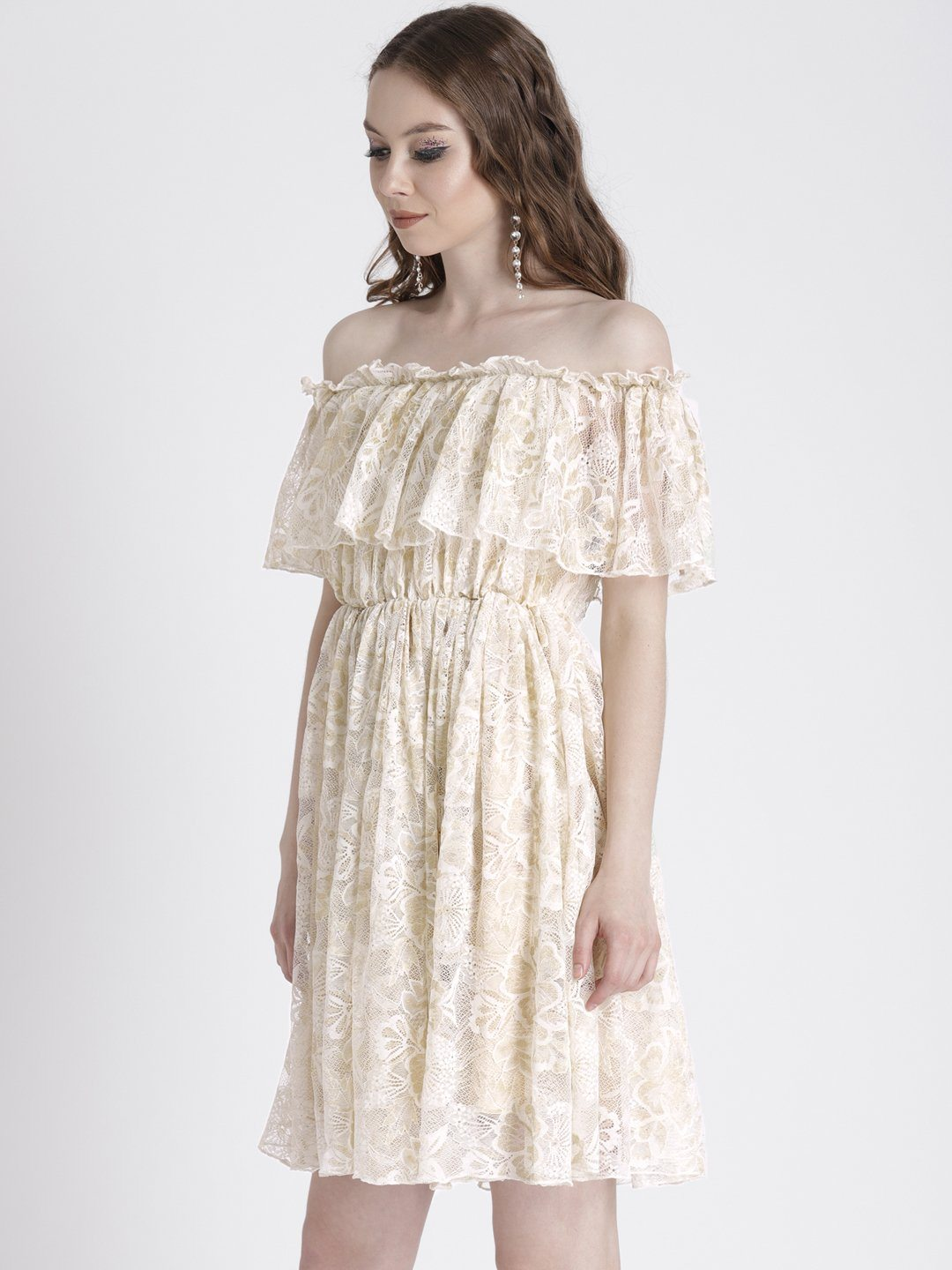 CREAM OFF SHOULDER DRESS IN LACE