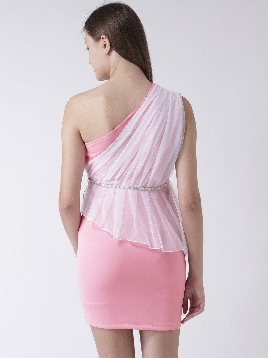 Pastel Pink One Shoulder Dress with Net detail