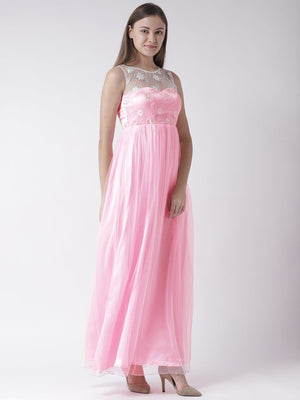 Pastel Pink Gown with Embroidered detail
