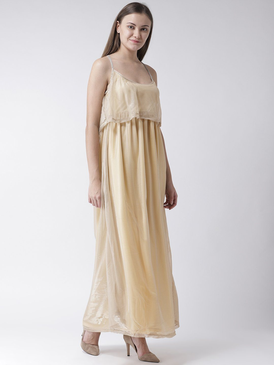 Shimmer Maxi tiered Dress in Gold