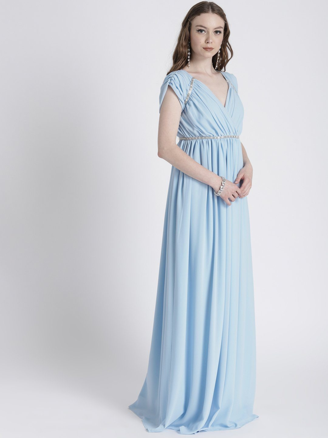 PASTEL BLUE GOWN WITH SHOULDER & WAIST EMBELLISHMENT