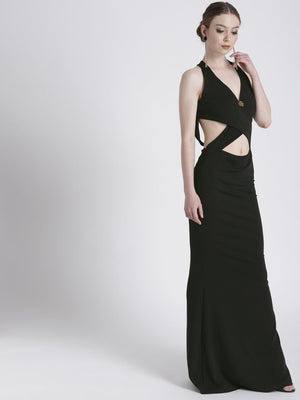 BLACK FULL LENGTH GOWN WITH CUT-OUT DETAIL