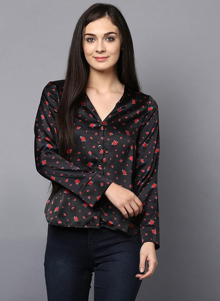Mini Rose Print Button Down V-Neck Shirt