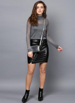 Frill Front Black Faux Leather Skirt