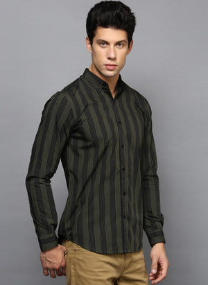 Olive Green Contrast Stripe Shirt