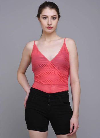 Pink V-Neck Strappy Bodysuit with Front Overlap