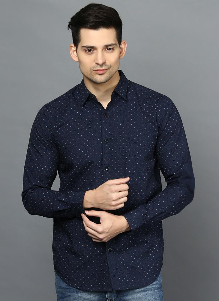 Navy Contrast Dotted Printed Shirt