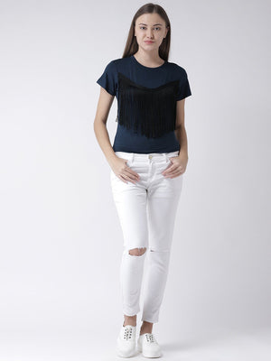 Blue Cropped Top with Fringed detail