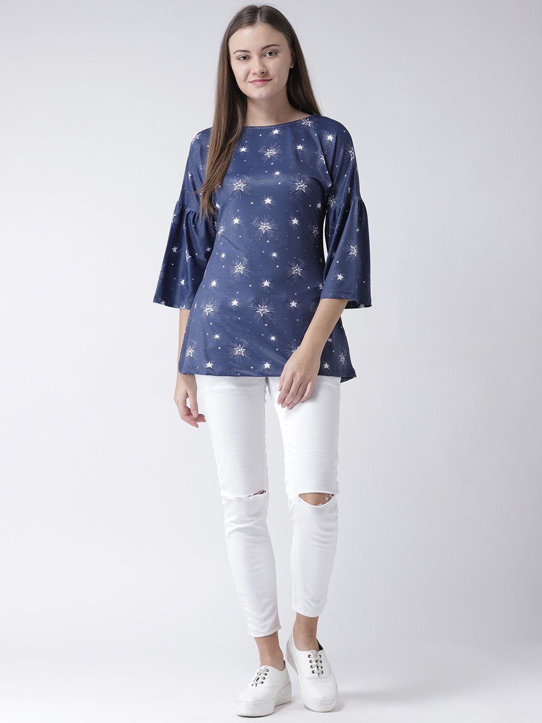 Blue Star Printed Flared Tunic