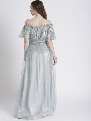 GREY OFF-SHOULDER GOWN WITH SHIMMER DETAIL