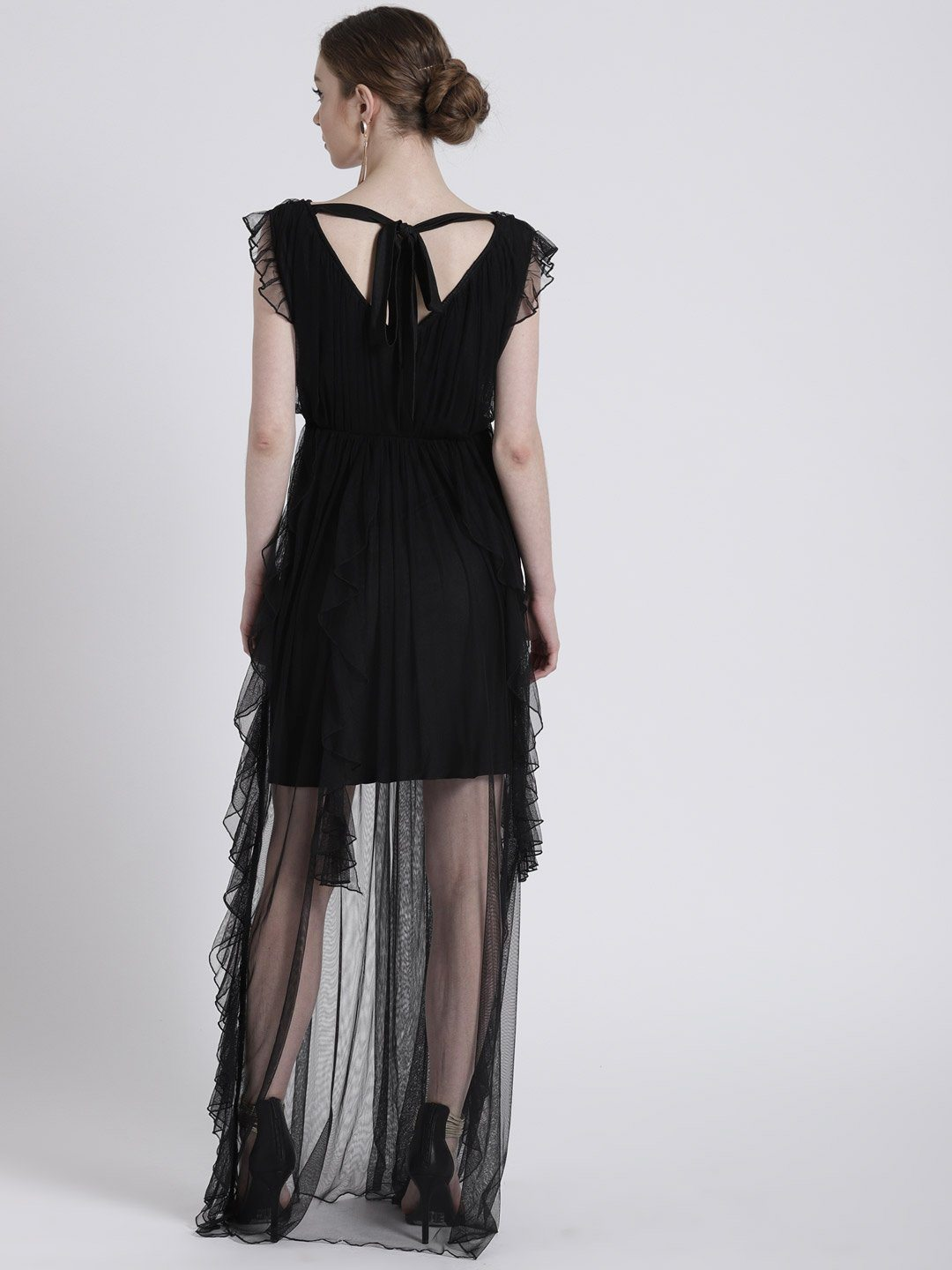 BLACK SHEER DRESS WITH RUFFLE DETAIL