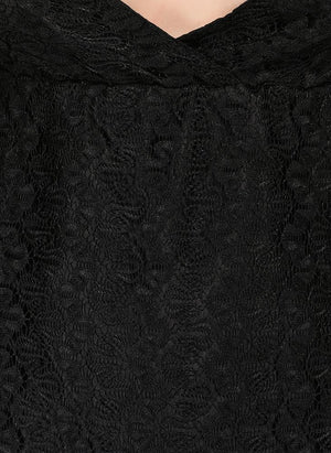 V-Neckline Black Lace Top