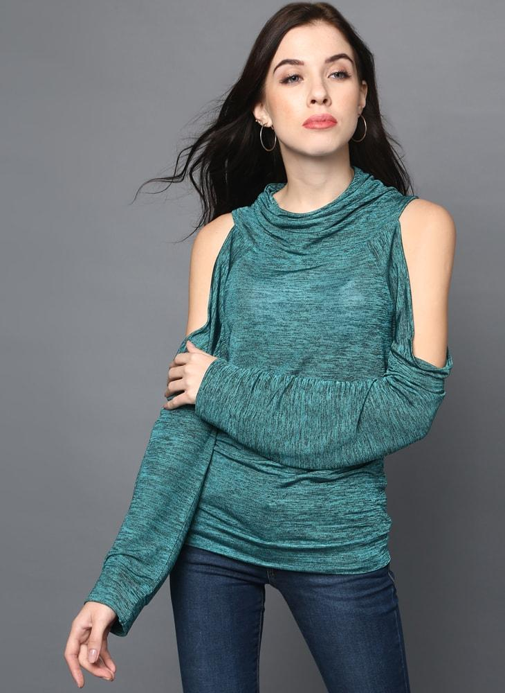 Cowl Neck Cold Shoulder Jumper