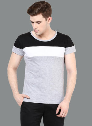 Cut & Sew Paneled Crew Neck T-shirt