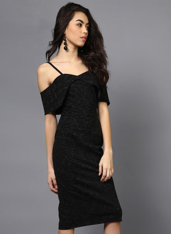 Midi Length Cold Shoulder Panelled Sleeve Dress
