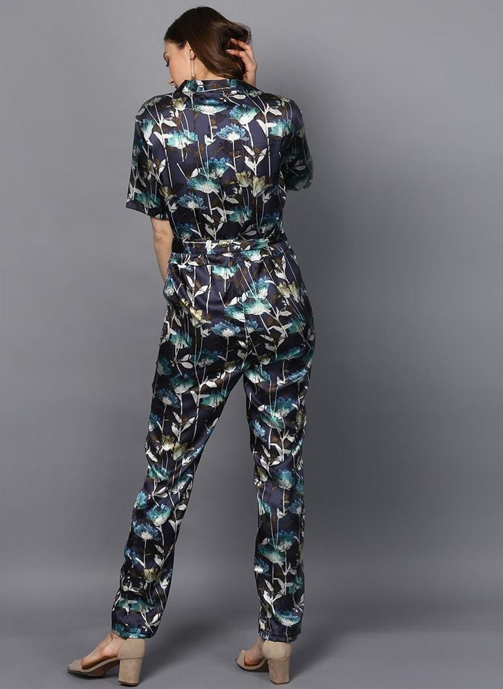 Satin Printed Jumpsuit with Front Lapel Collar