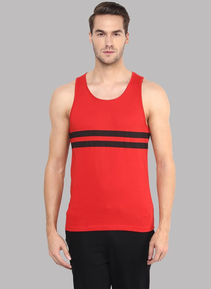 Sleeveless T-shirt with Contrast Stripe in Red