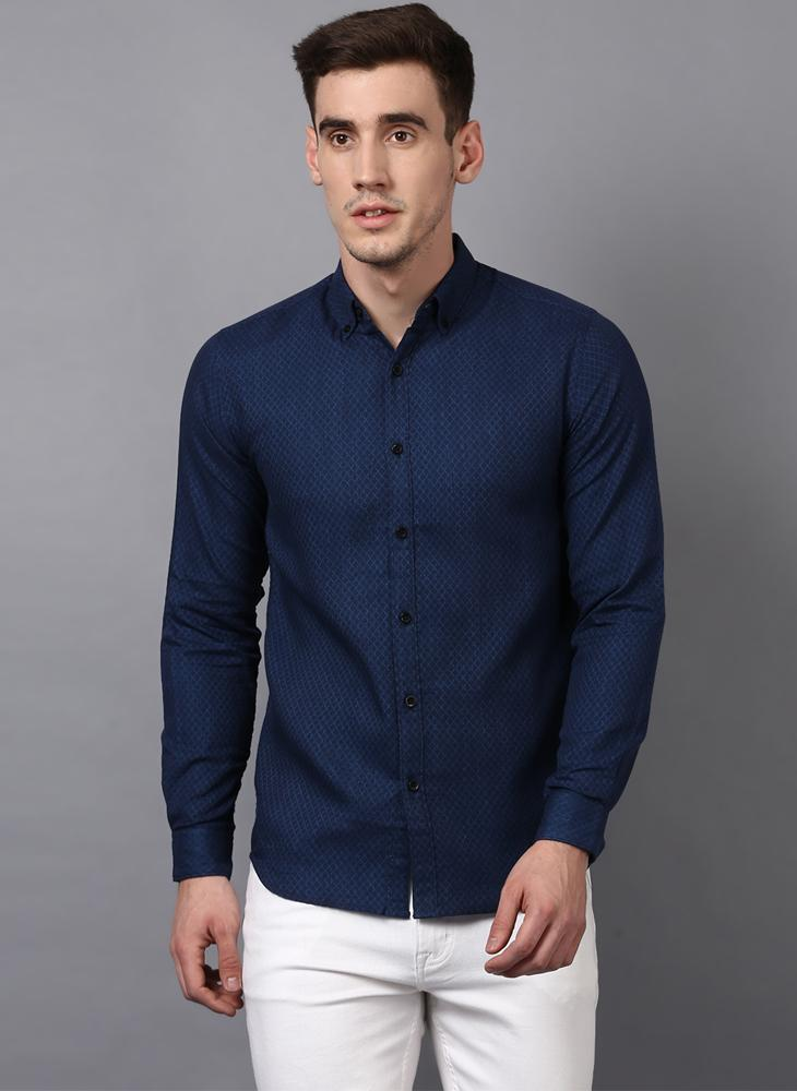 Navy Geometrical Textured Slim Fit Shirt