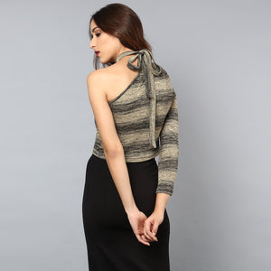 One Shoulder Striped Crop top with Tie-up neck