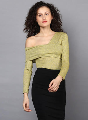 One Shoulder Full Sleeve Bodysuit with Front Overlap