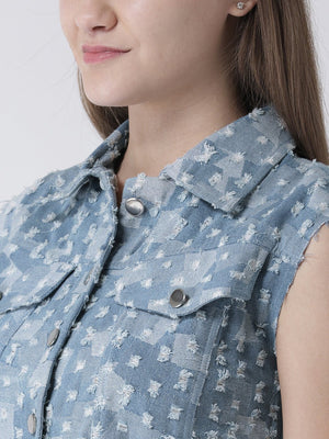 Textured Denim Jacket with Button Placket