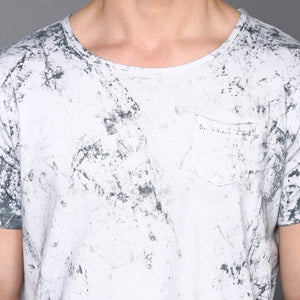 White Cloud Wash Basic Crew Neck T-Shirt
