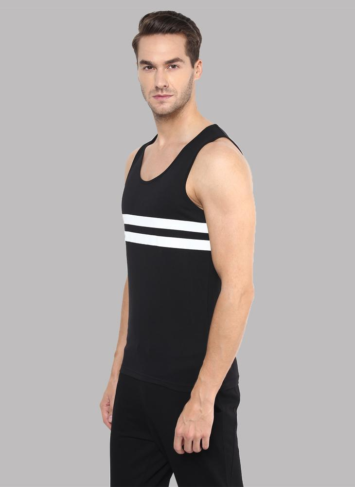 Sleeveless T-shirt with Contrast Stripe in Black
