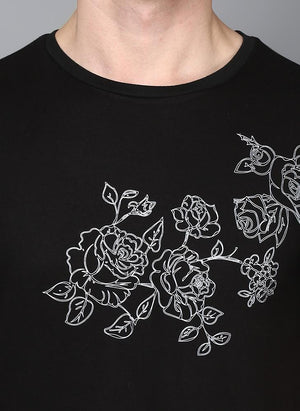 Black Crew Neck T-Shirt with Front Floral Print