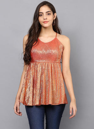 Metallic Textured Tunic with Cross Back