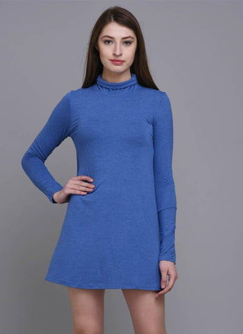 Blue Turtle Neck A-Line Dress